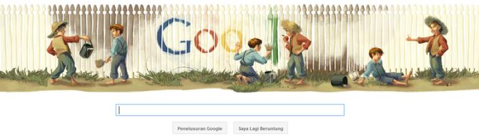 Google doodle tanggal 30 November 2011, memperingati HUT Mark Twain ke-176