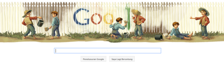Google doodle tanggal 30 November 2011, memperingati HUT Mark Twain ke-176