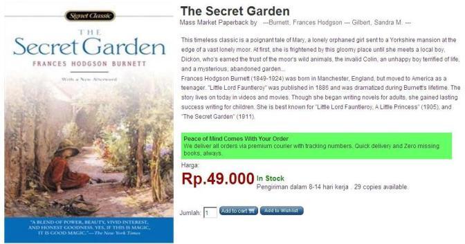 The Secret Garden di website Open Trolley. Covernya berbeda dengan buku yang saya terima.