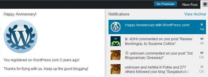 Happy anniversary greeting from WP! ;)